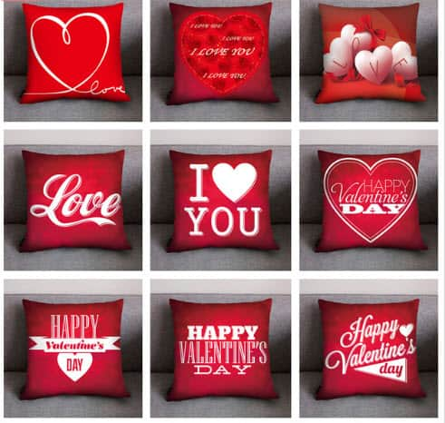 Printed Pillow Cover (Red)