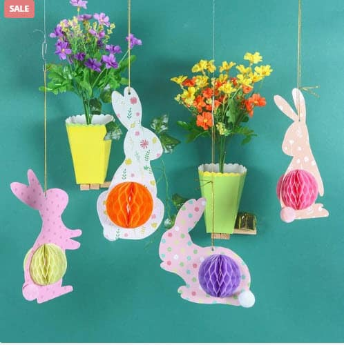 Top 50 Party Decorations: Honeycomb Bunny Decorations
