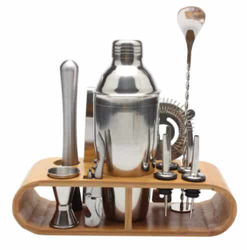 Stainless Cocktail Shaker Set With Wooden Rack